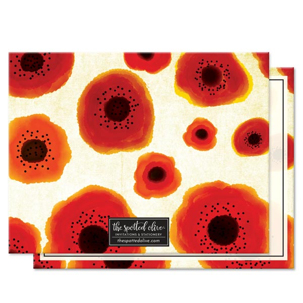 Poppy Love Personalized Note Cards by The Spotted Olive - Back