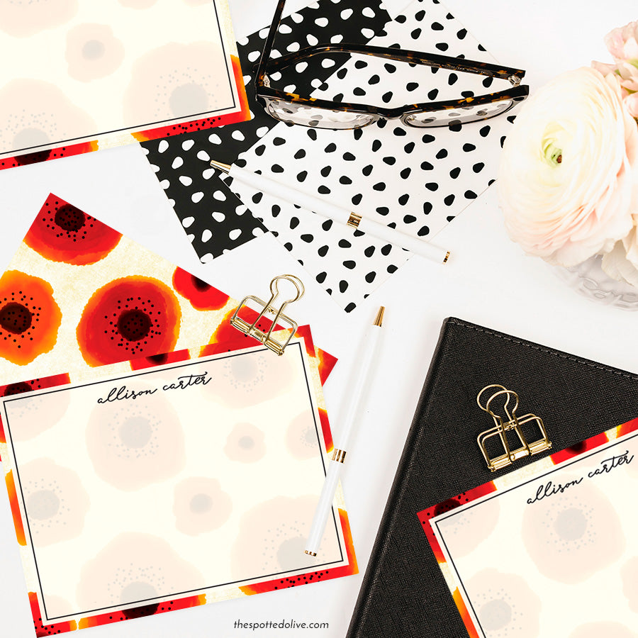 Poppy Love Personalized Note Cards by The Spotted Olive - Scene
