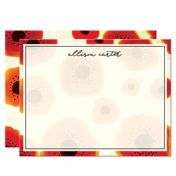 Poppy Love Personalized Note Cards by The Spotted Olive