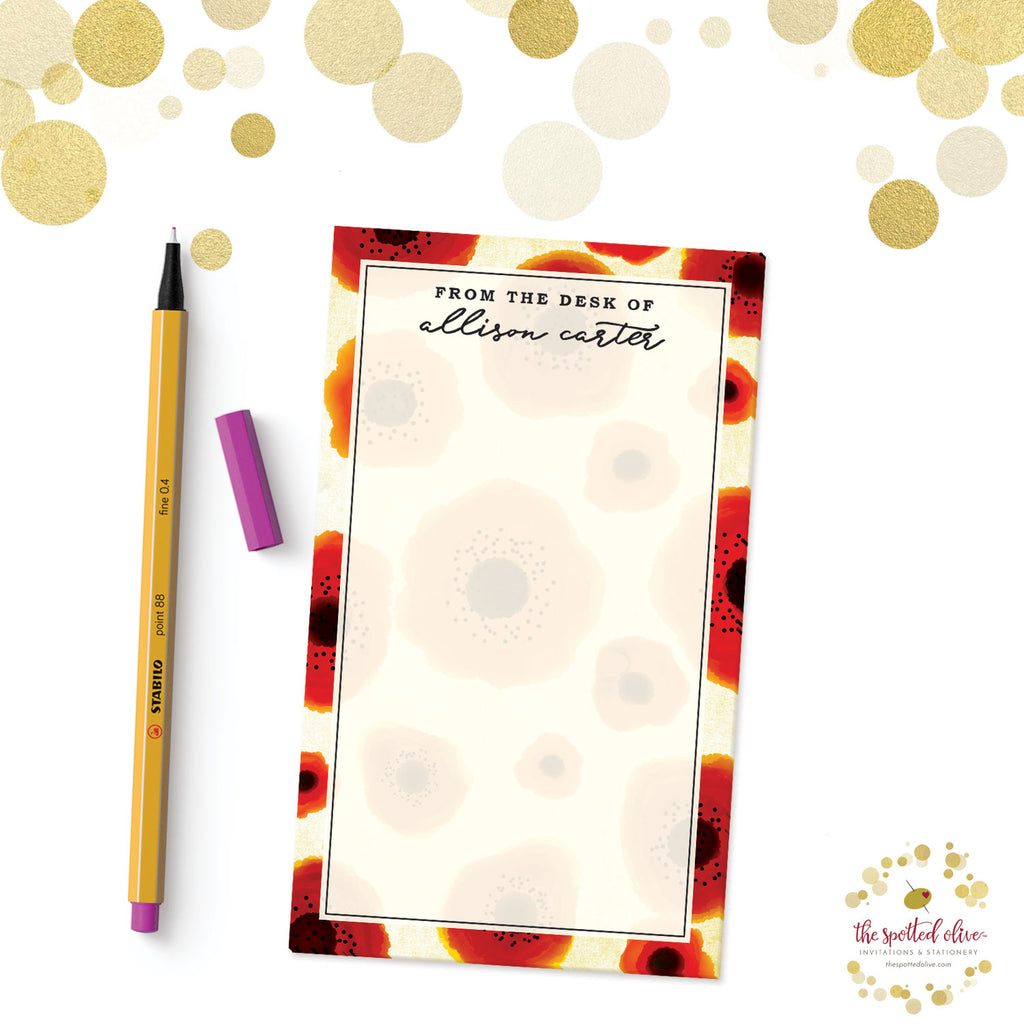 Poppy Love Personalized Notepad by The Spotted Olive - Branded