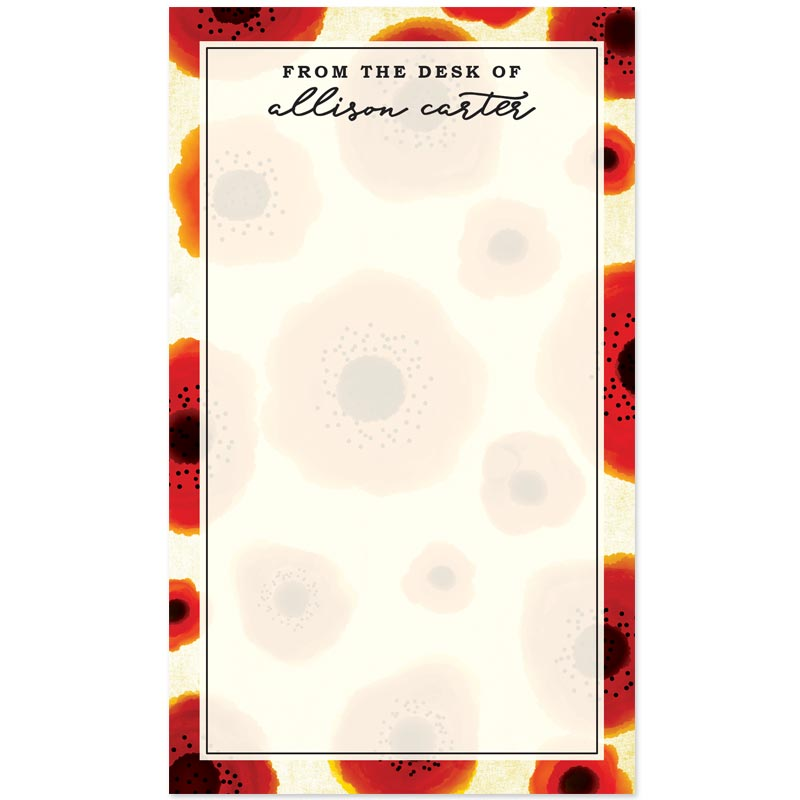 Poppy Love Personalized Notepad by The Spotted Olive