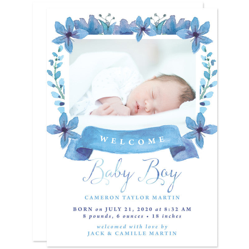 Pretty Floral Baby Boy Birth Announcements