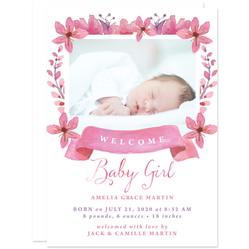 Pretty Floral Baby Girl Birth Announcements