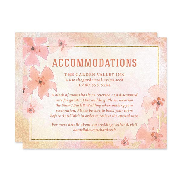 Pretty Peach Floral Wedding Enclosure Cards by The Spotted Olive