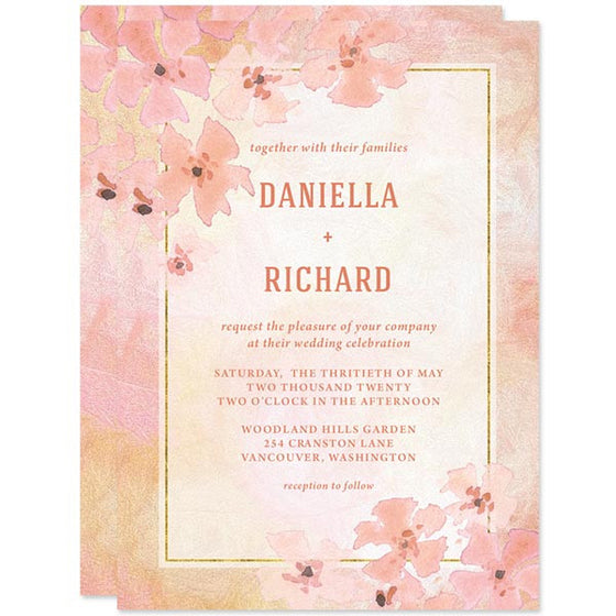 Pretty Peach Floral Wedding Invitations by The Spotted Olive