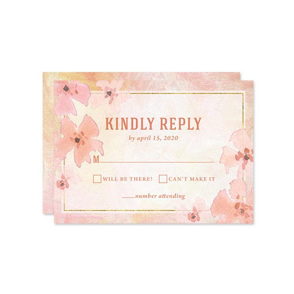 Pretty Peach Floral RSVP Cards by The Spotted Olive