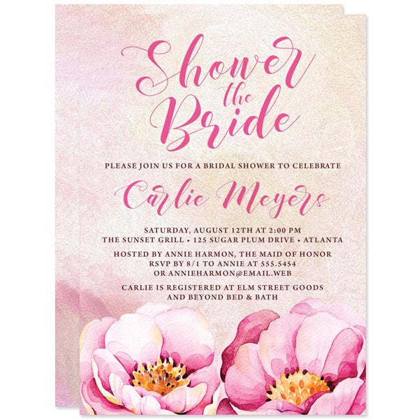 Pretty Pink Flowers Bridal Shower Invitations by The Spotted Olive