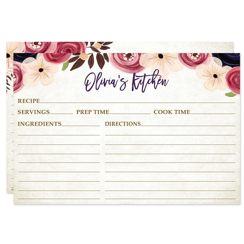 Personalized Recipe Cards Pretty Watercolor Flowers