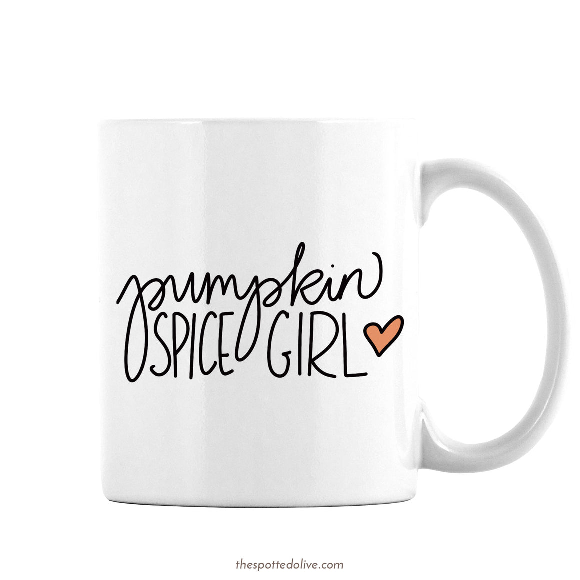 Pumpkin Spice Girl Coffee Mug by The Spotted Olive - Right