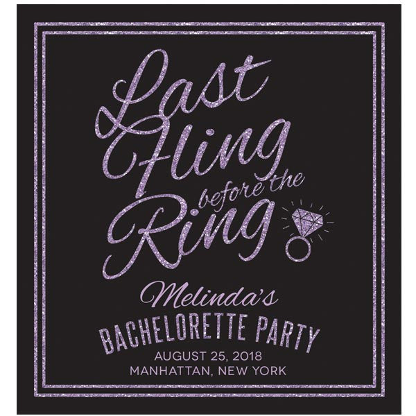 Purple & Black Last Fling Bachelorette Party Wine Labels by The Spotted Olive