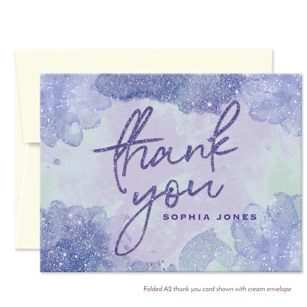 Purple & Blue Pixie Dust Thank You Cards by The Spotted Olive - Cream Envelopes