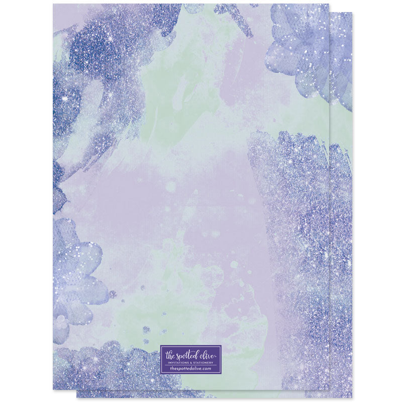 Purple & Blue Pixie Dust Sweet Sixteen Invitations by The Spotted Olive - Back