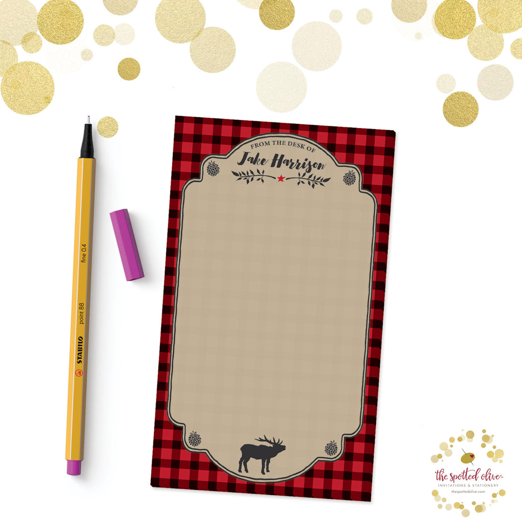 Red & Black Buffalo Check Personalized Notepad by The Spotted Olive - Branded