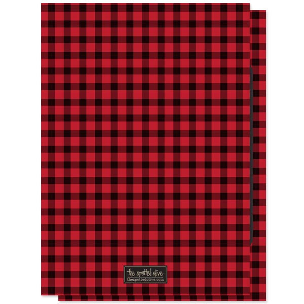 Bachelor Party Invitations - Red & Black Buffalo Check Stag Party - The Spotted Olive - back