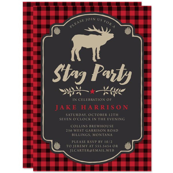 Bachelor Party Invitations - Red & Black Buffalo Check Stag Party - The Spotted Olive