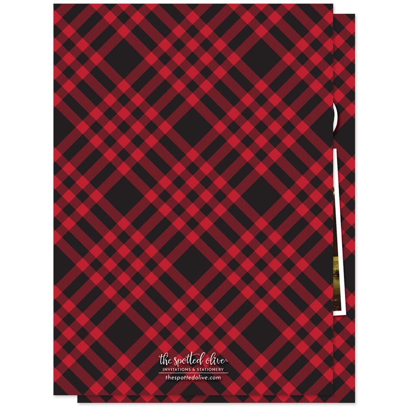 Rustic Red & Black Plaid Christmas Photo Cards by The Spotted Olive - Back