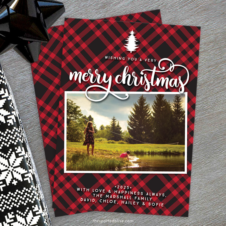 Rustic Red & Black Plaid Christmas Photo Cards by The Spotted Olive - Scene