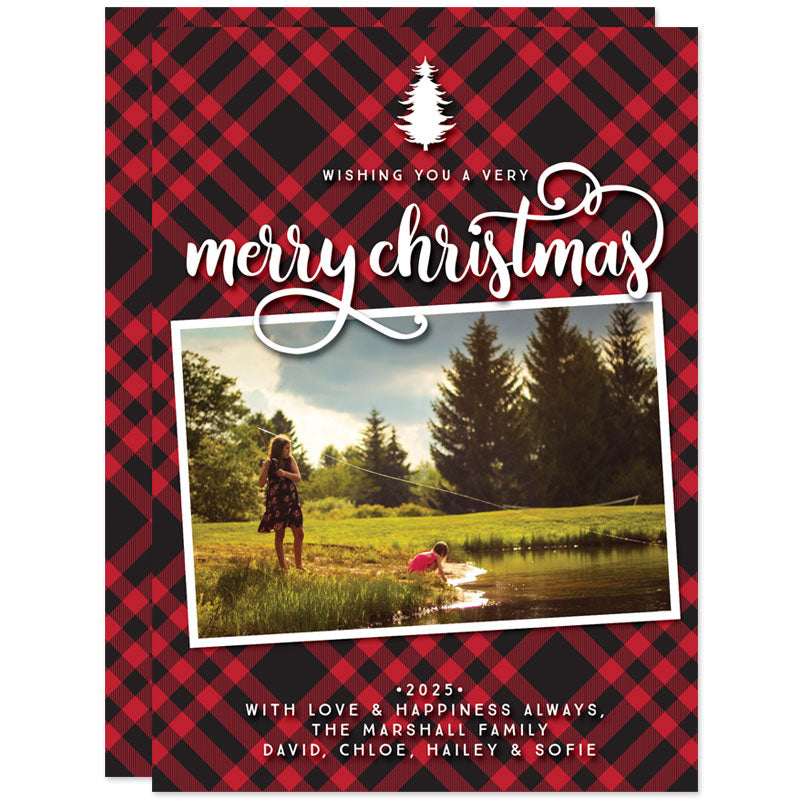 Rustic Red & Black Plaid Christmas Photo Cards by The Spotted Olive