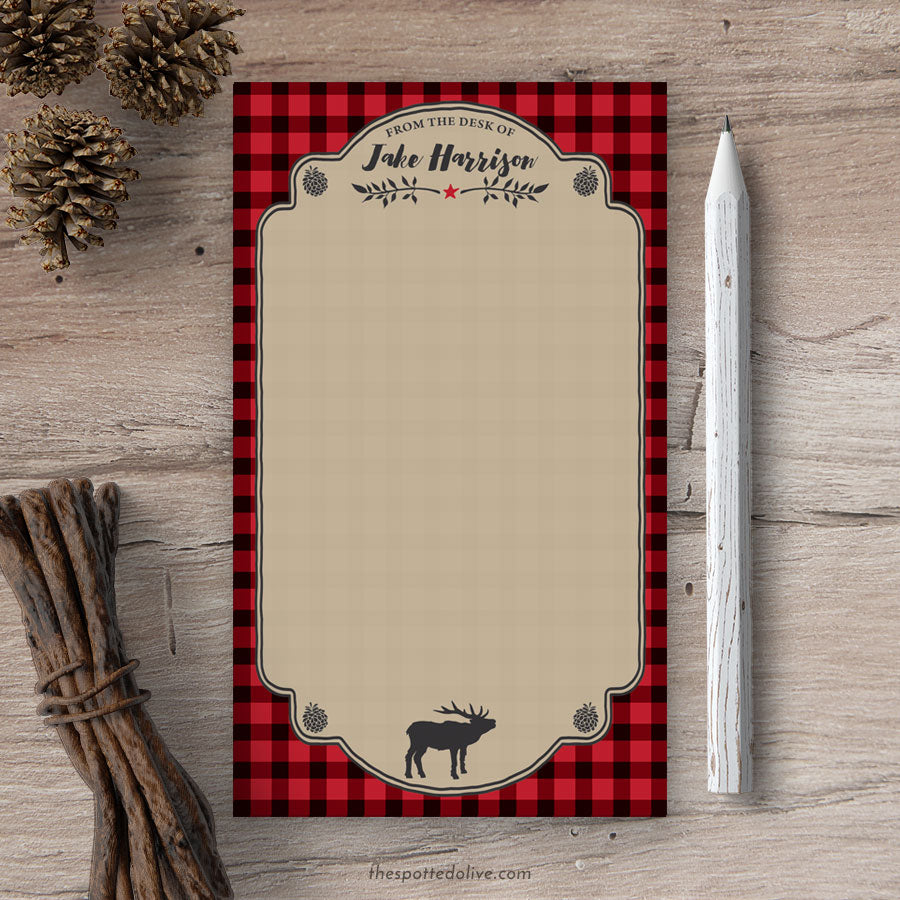Personalized Notepads - Red & Black Buffalo Plaid