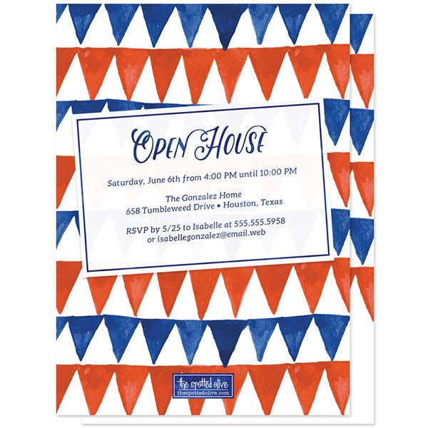 Red & Blue Pennant Flags Graduation Announcements by The Spotted Olive - Back
