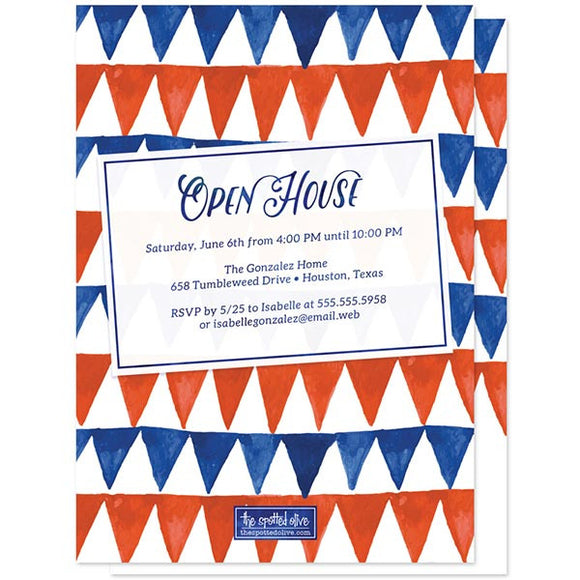 Red & Blue Pennant Flags Graduation Announcements by The Spotted Olive