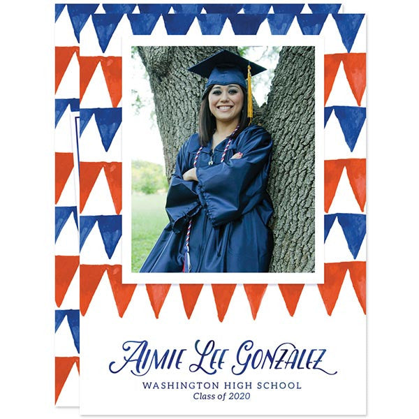 Red & Blue Pennant Flags Graduation Announcements - Class of 2016 by The Spotted Olive