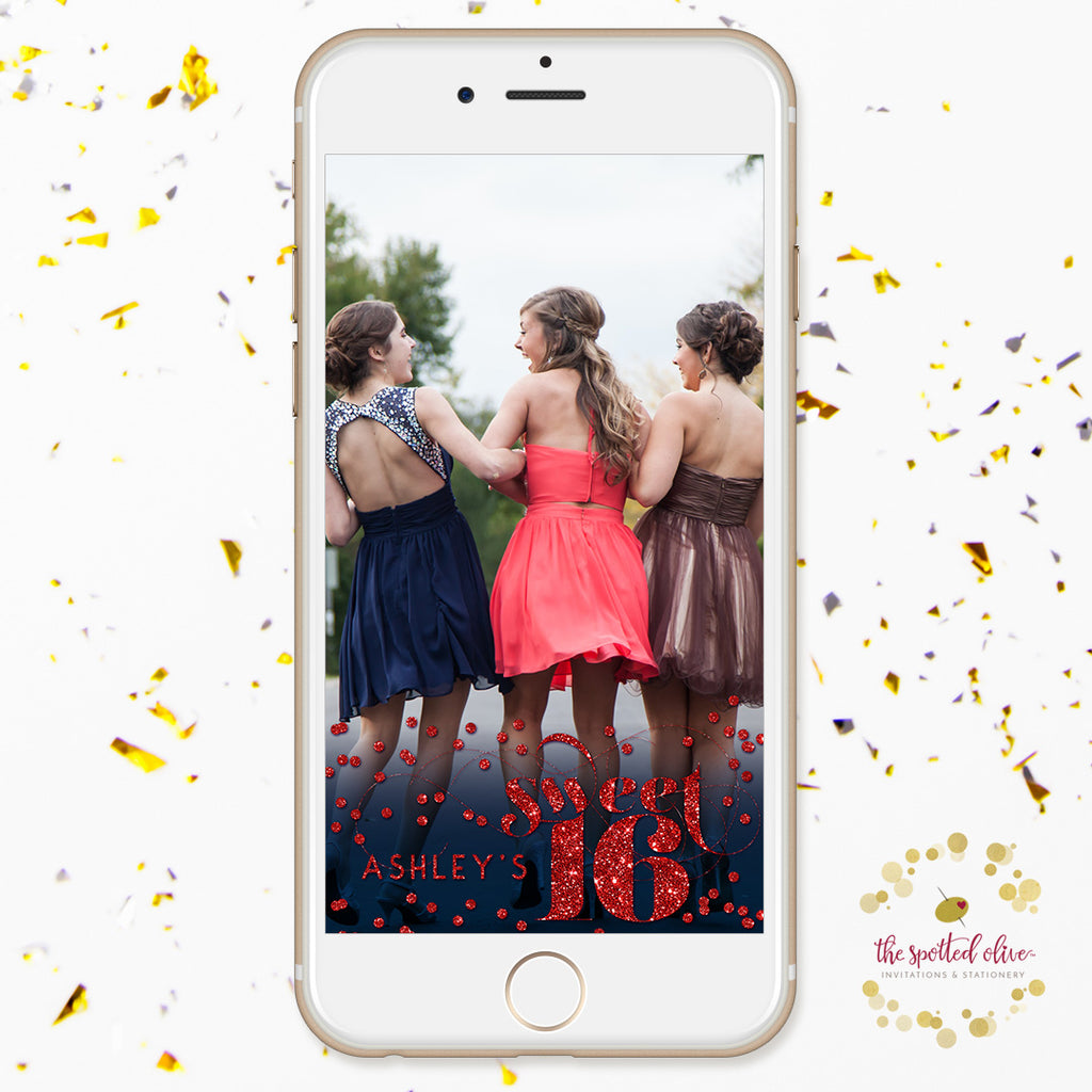 Personalized Snapchat Geofilter - Red Confetti Sweet 16