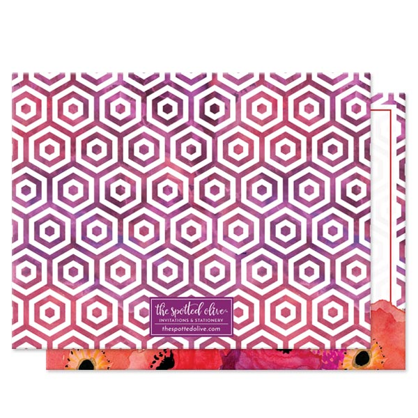Red & Purple Watercolor Flowers Personalized Note Cards by The Spotted Olive - Back