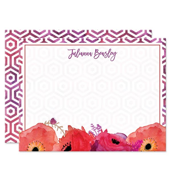 Red & Purple Watercolor Flowers Personalized Note Cards by The Spotted Olive - Front
