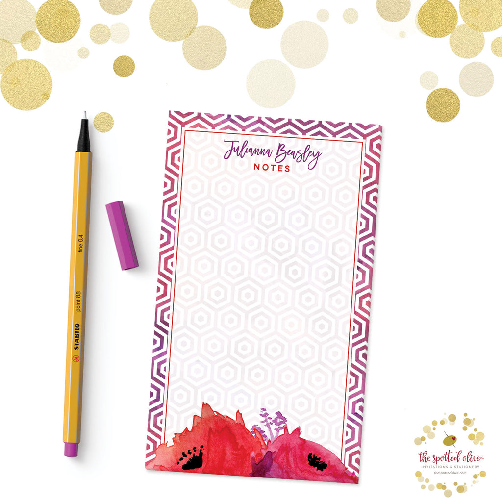 Red & Purple Watercolor Flowers Personalized Notepads by The Spotted Olive - Branded