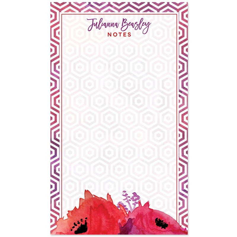 Red & Purple Watercolor Flowers Personalized Notepads by The Spotted Olive