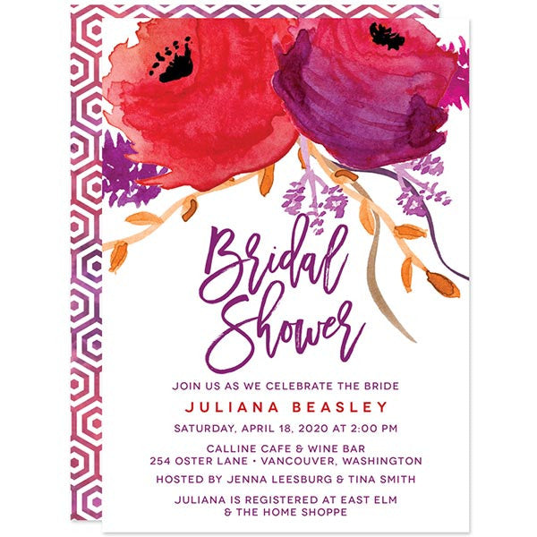 red purple watercolor flowers bridal shower invitations by the spotted olive