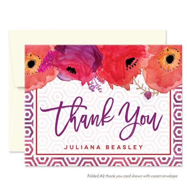 Red & Purple Watercolor Flowers Personalized Thank You Cards by The Spotted Olive - Cream Envelope