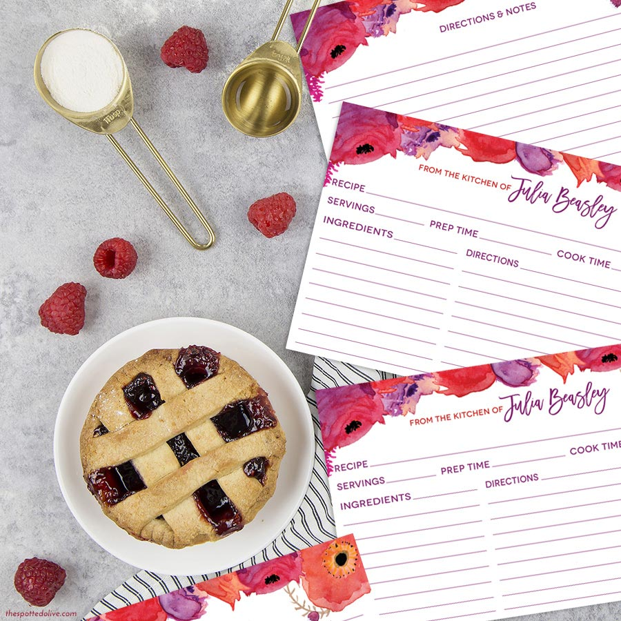 Red & Purple Watercolor Flowers Personalized Recipe Cards by The Spotted Olive - Scene
