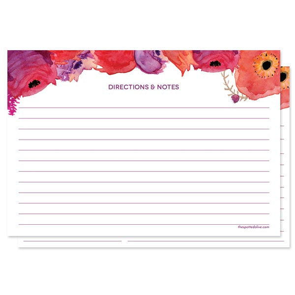 Red & Purple Watercolor Flowers Personalized Recipe Cards by The Spotted Olive - Back