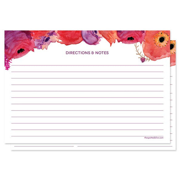 Red & Purple Watercolor Flowers Personalized Recipe Cards by The Spotted Olive