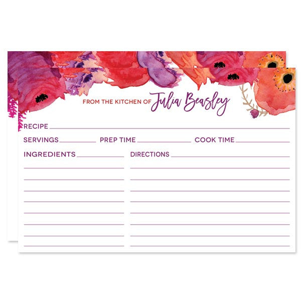 red purple watercolor flowers personalized recipe cards by the spotted olive