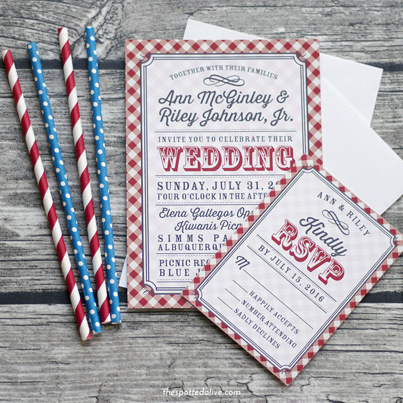 Red & White Country Gingham Wedding Invitations & RSVP Cards by The Spotted Olive