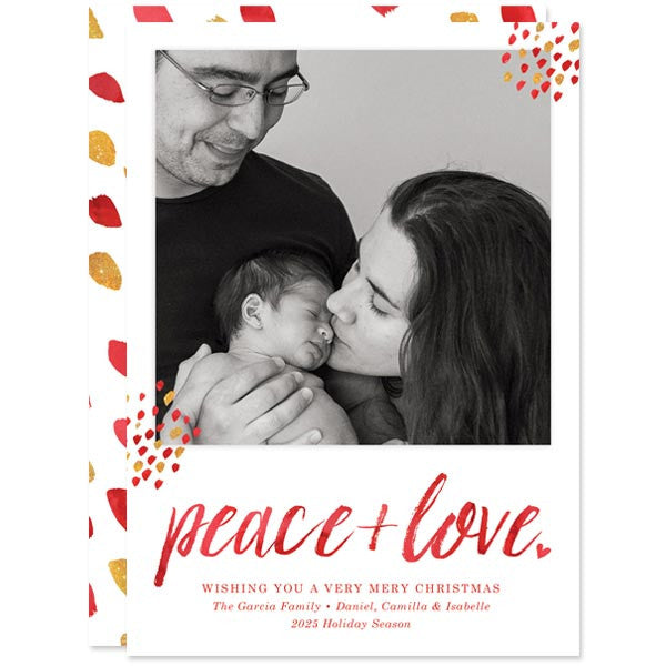 Red Peace + Love Holiday Photo Cards by The Spotted Olive