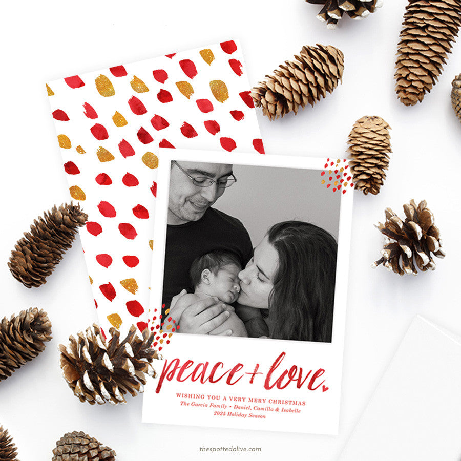 ed Peace + Love Holiday Photo Cards by The Spotted Olive - Scene