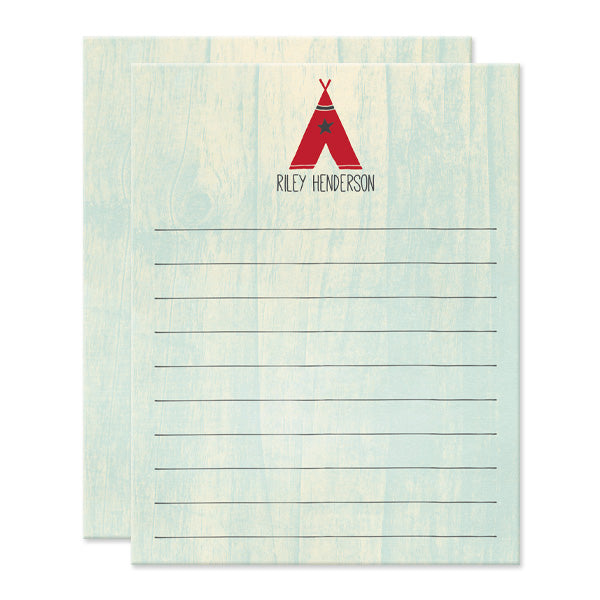 Kids Red Teepee Personalized Note Cards by The Spotted Olive - Front