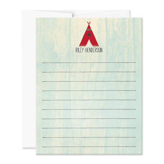 Kids Red Teepee Personalized Note Cards by The Spotted Olive - Envelope