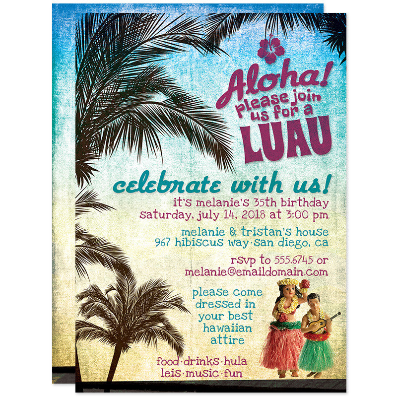 Hawaiian luau birthday party invitations the spotted olive the retro luau beach party birthday invitations by the spotted olive filmwisefo