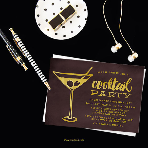 Retro Martini Party Invitations by The Spotted Olive - Scene