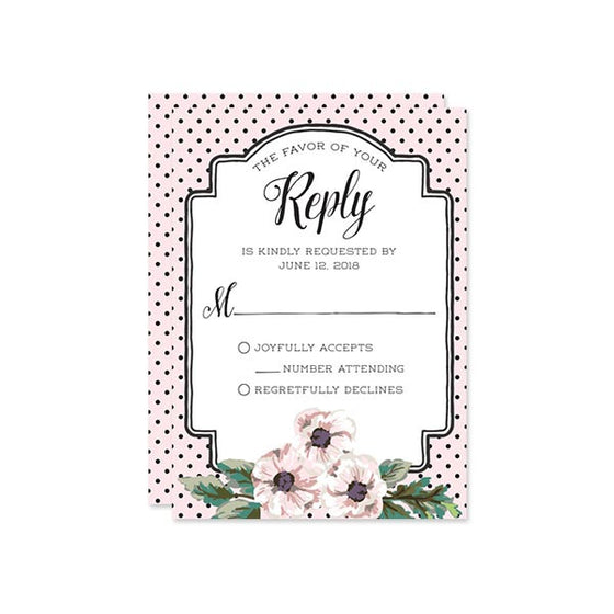Retro Polka Dots & Flowers RSVP Cards by The Spotted Olive