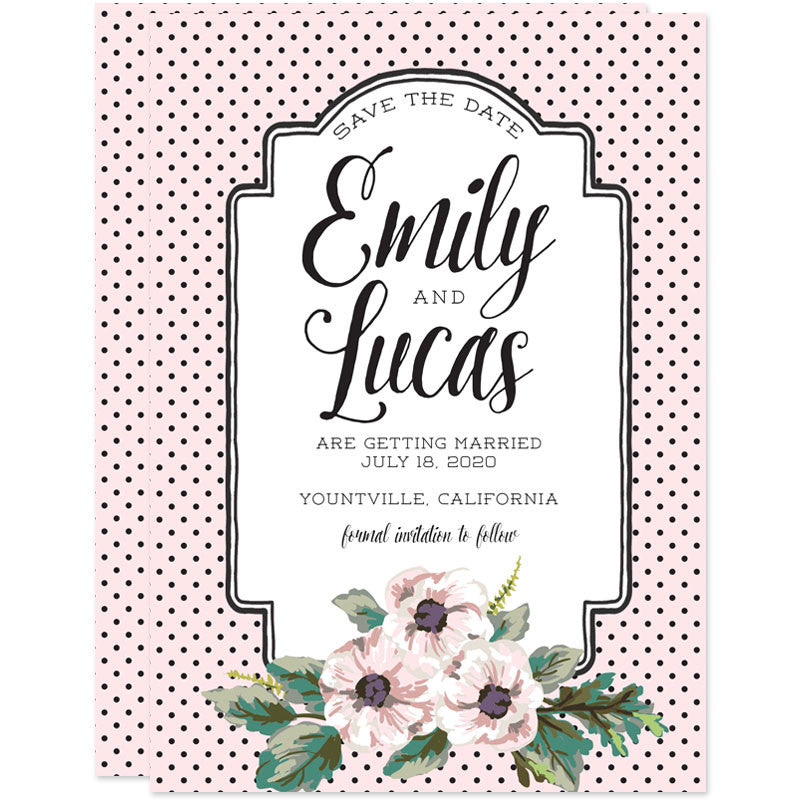 Retro Polka Dots & Flowers Save The Dates