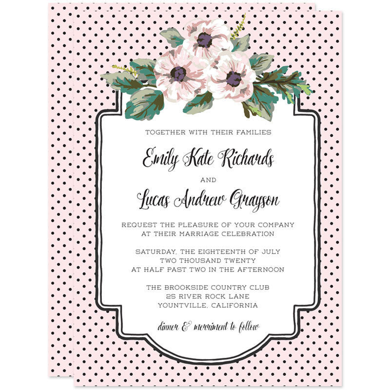 Retro Polka Dots & Flowers Wedding Invitations