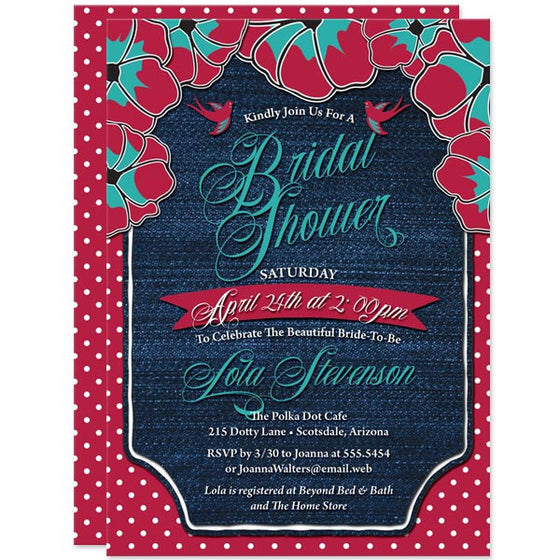 Rockabilly Denim & Polka Dots Bridal Shower Invitations by The Spotted Olive