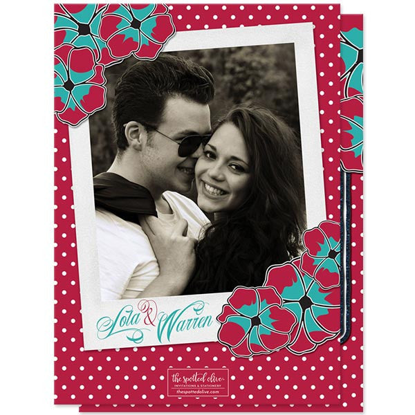 Rockabilly Denim & Polka Dots Save the Date Cards by The Spotted Olive - Back