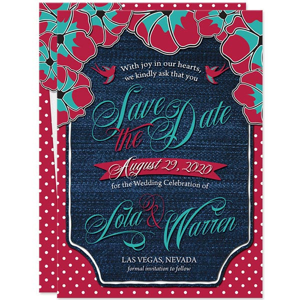 Rockabilly Denim & Polka Dots Save the Date Cards by The Spotted Olive